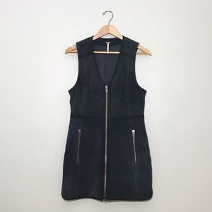 Free People Suede Leather Dress in Navy Medium